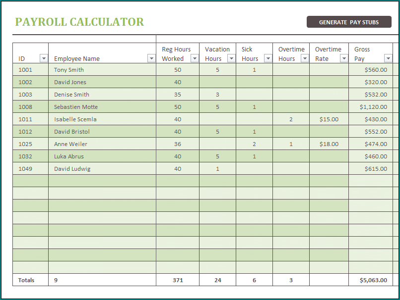 Example of Payroll Calculator Template