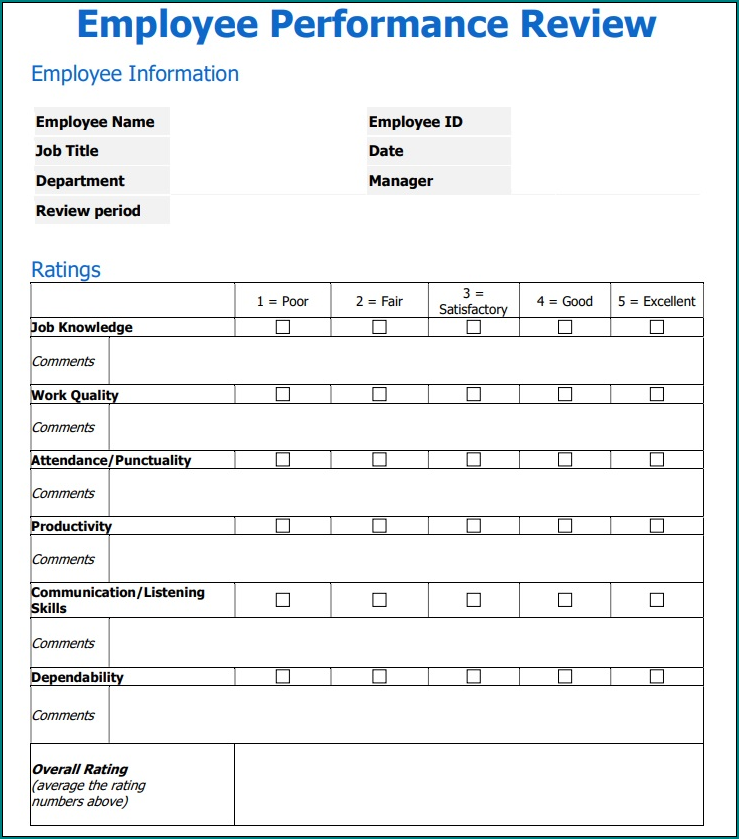 Example of Performance Evaluation Form