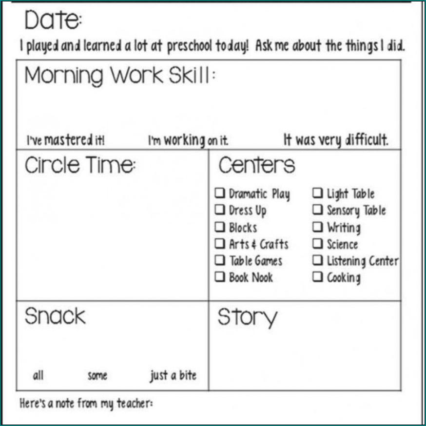 Example of Preschool Daily Schedule Template