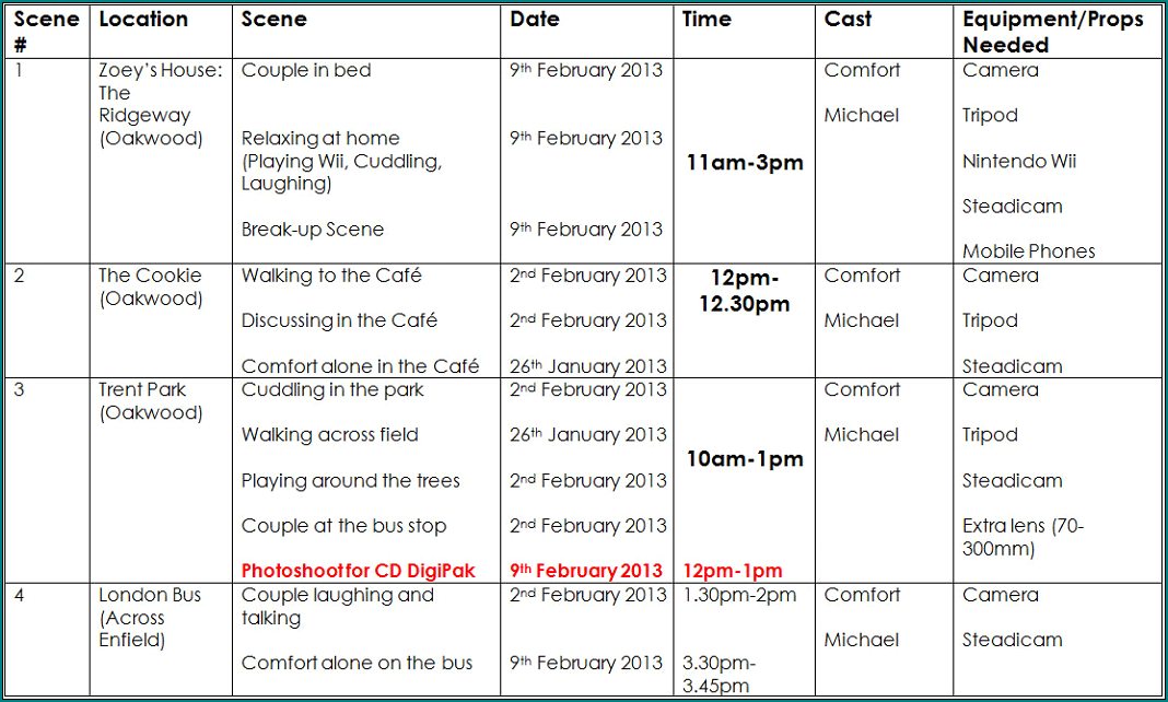Example of Production Schedule Template
