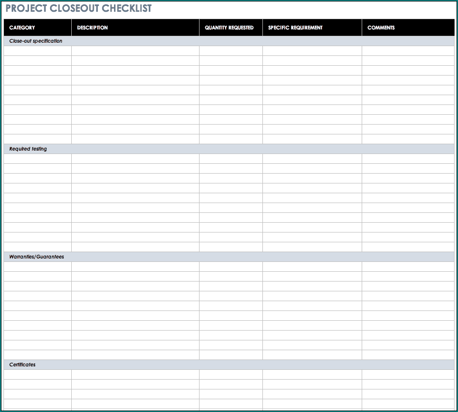 Example of Project Management Task List Template