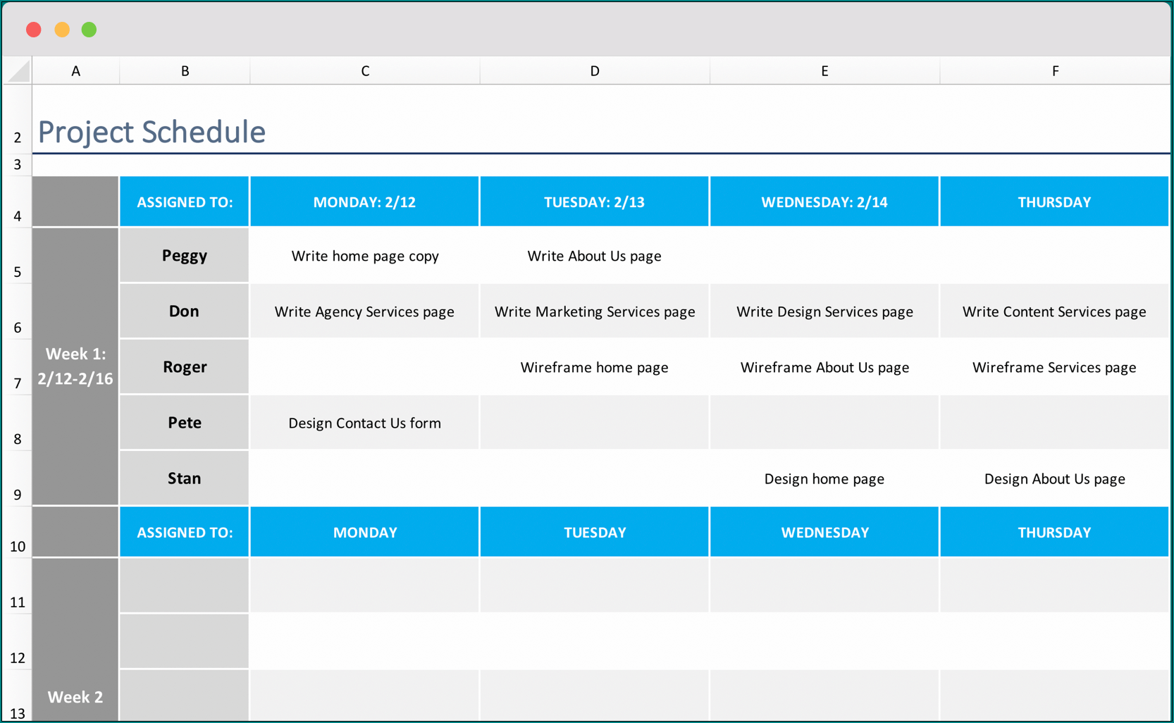 Example of Project Timeline Excel Template