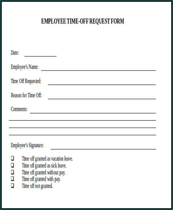 Example of Request Day Off Form
