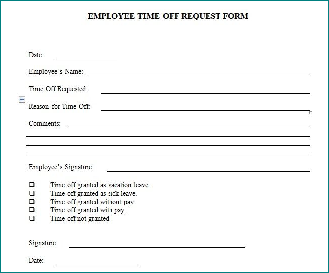 Example of Request For Time Off Form