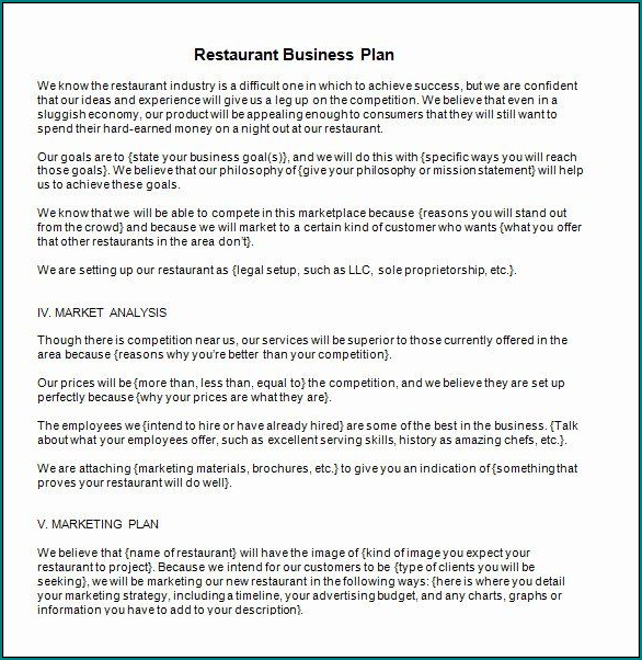 Example of Restaurant Business Plan Template