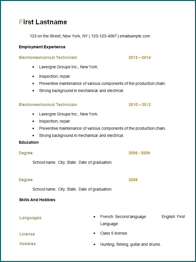 Example of Sample Resume Format