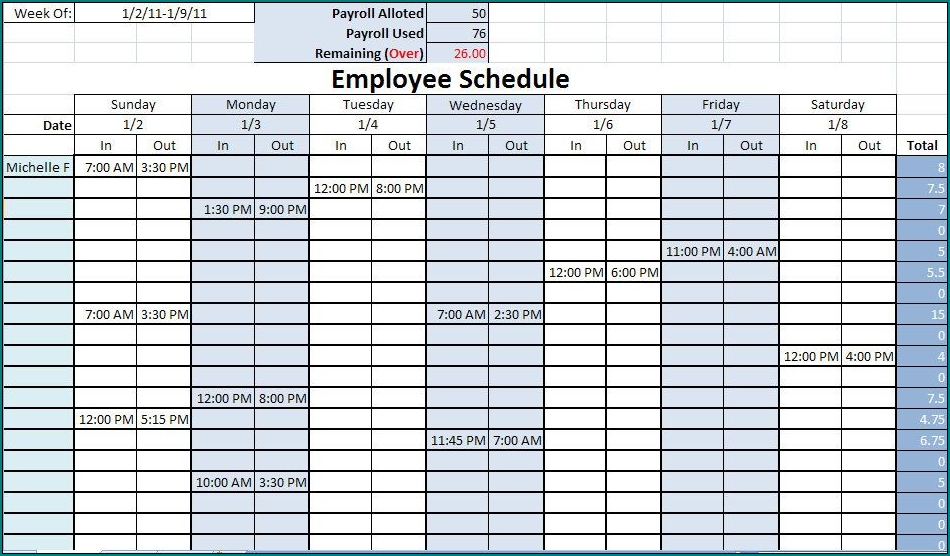 Example of Schedule Template For Employees