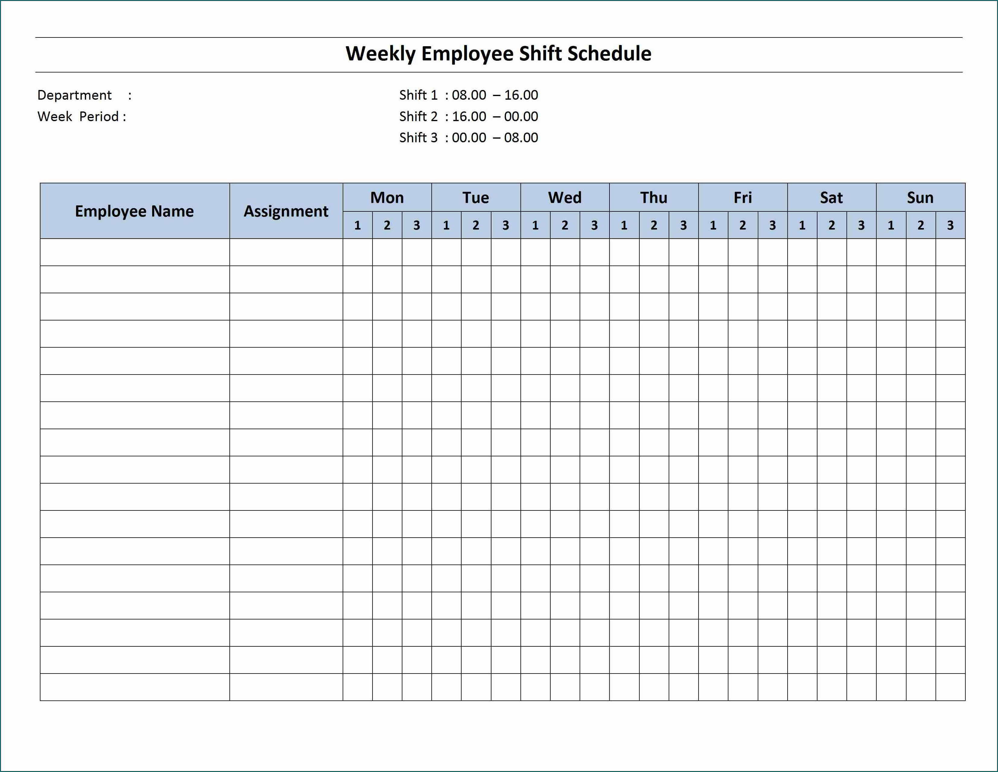 Example of Shift Schedule Template