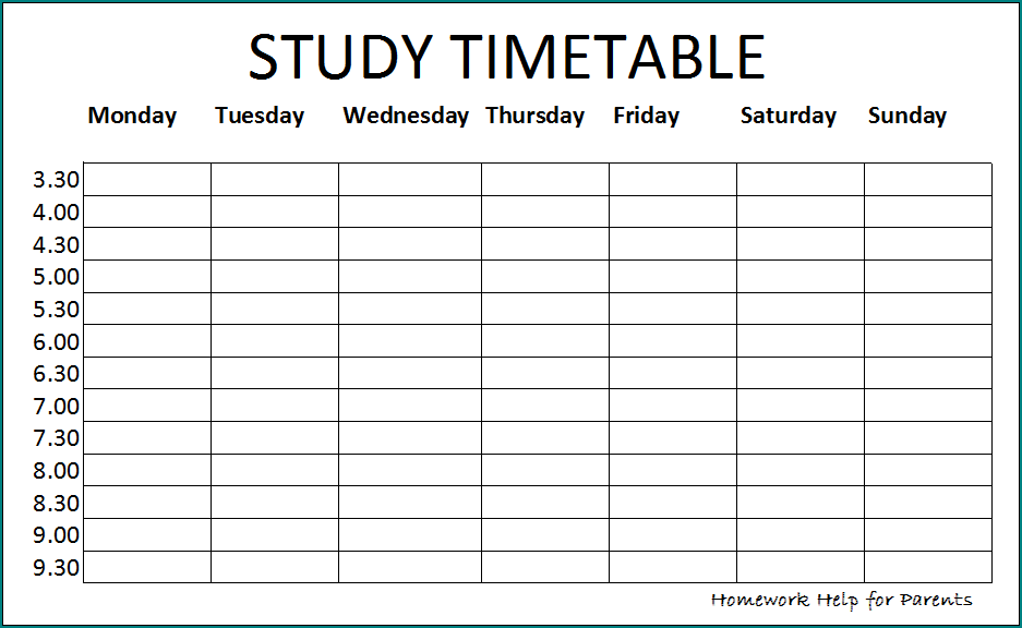 Example of Study Schedule Template