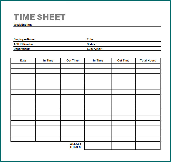 Example of Timesheet Template Word