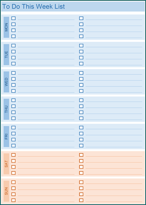 Example of To Do List Template Excel