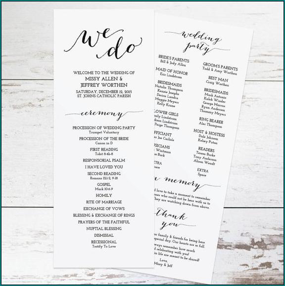 Example of Wedding Ceremony Program Template