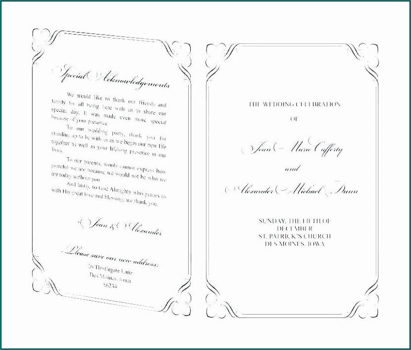 Example of Wedding Program Template Word