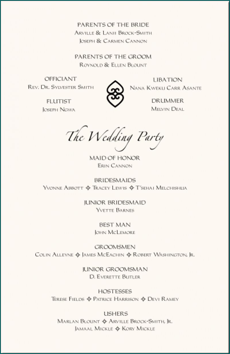 Example of Wedding Reception Program Template