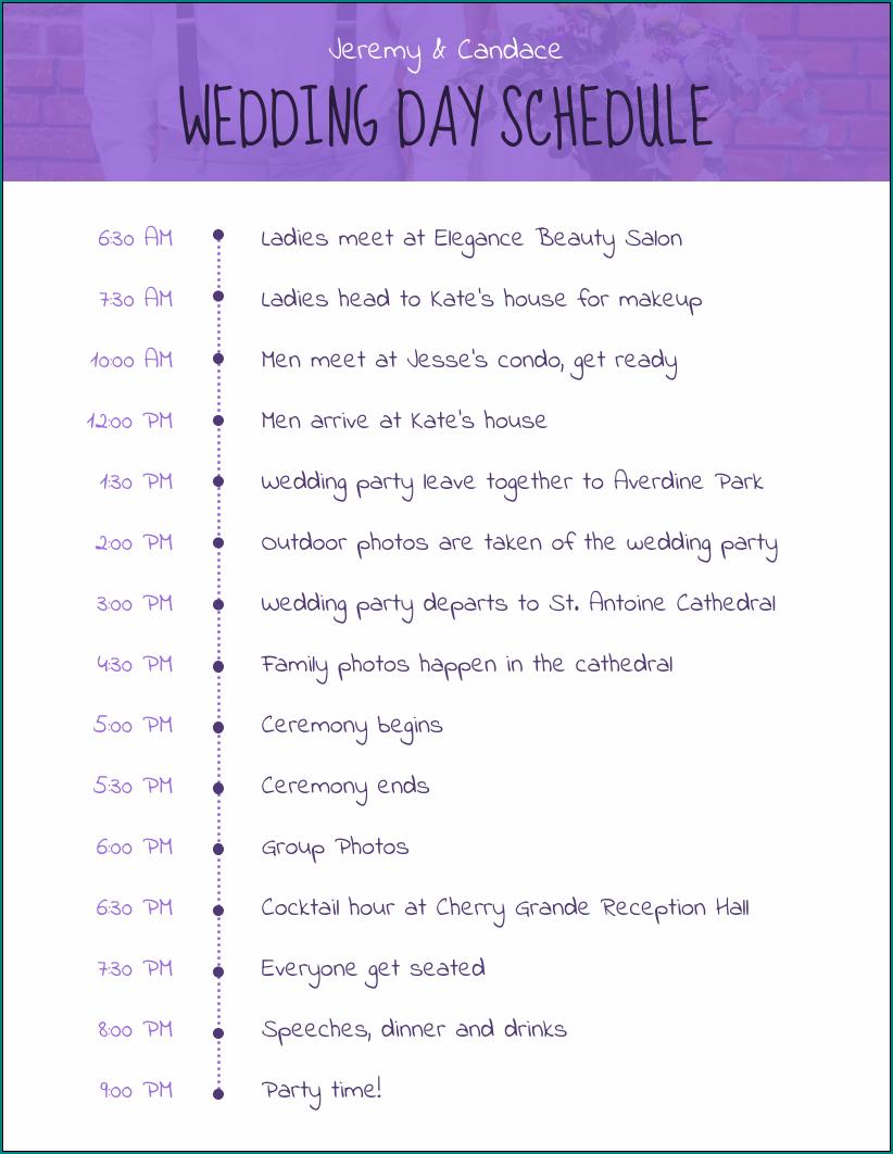 Free Printable Wedding Schedule Template Bogiolo