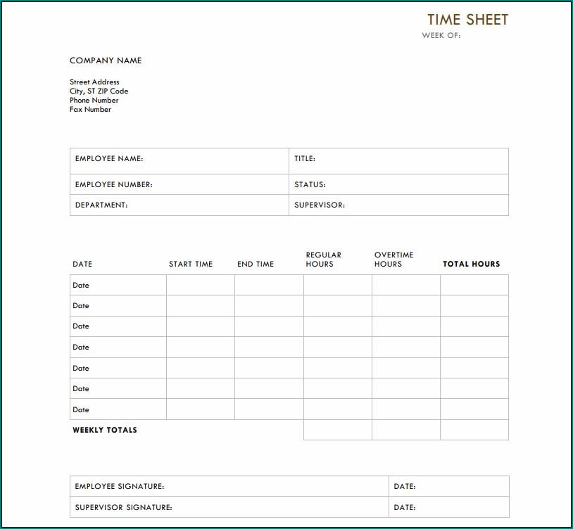 Example of Weekly Employee Timesheet Template