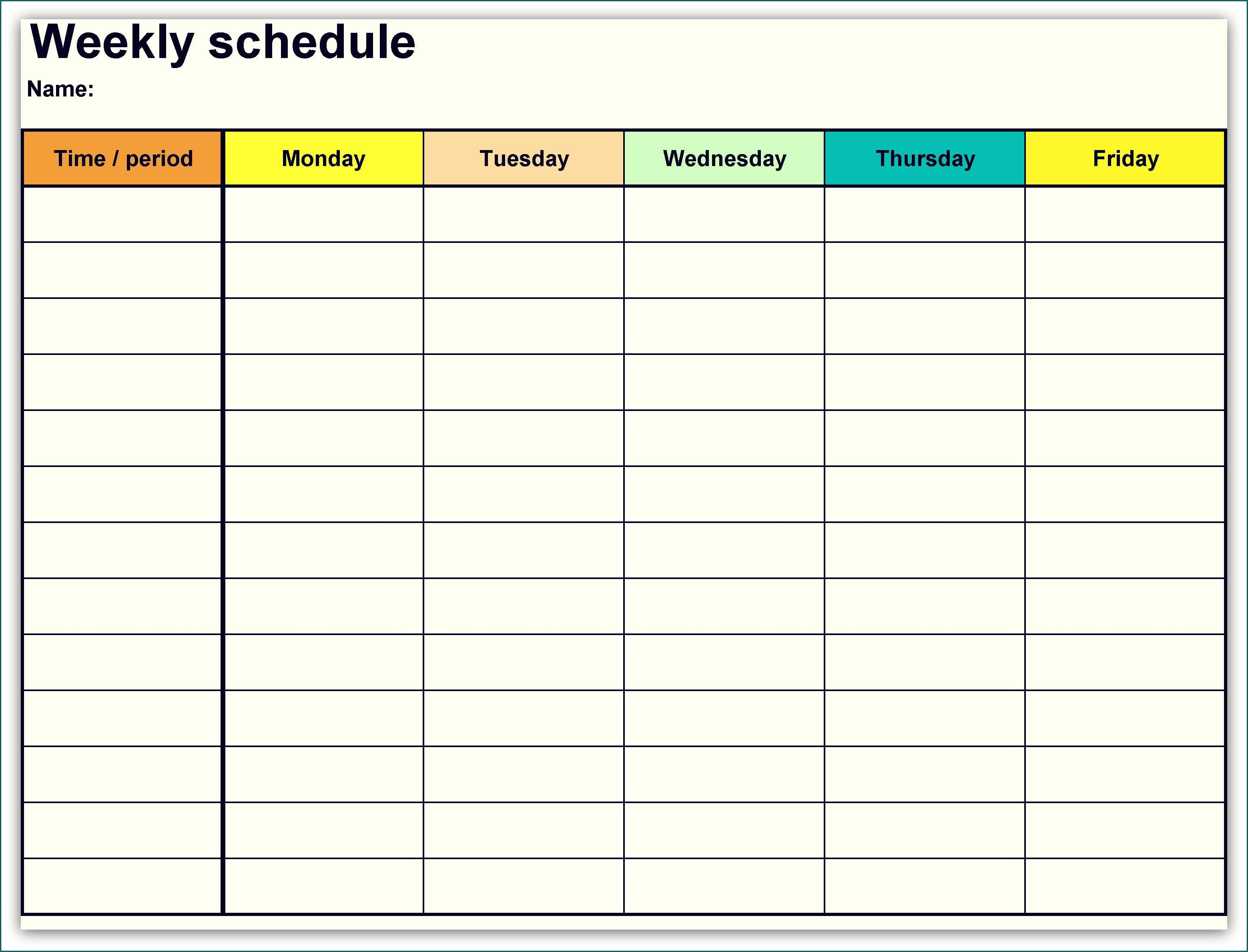 Example of Weekly Schedule Template
