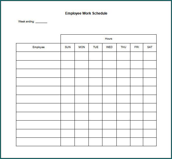Example of Working Schedule Template