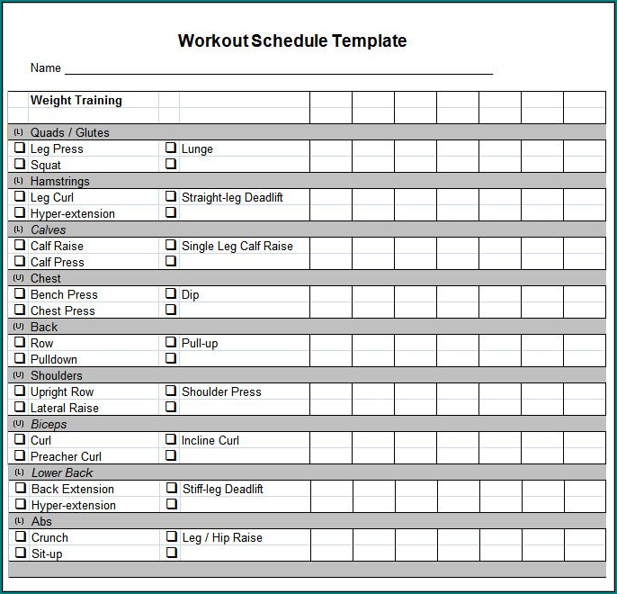 Free Printable Workout Schedule Template Bogiolo