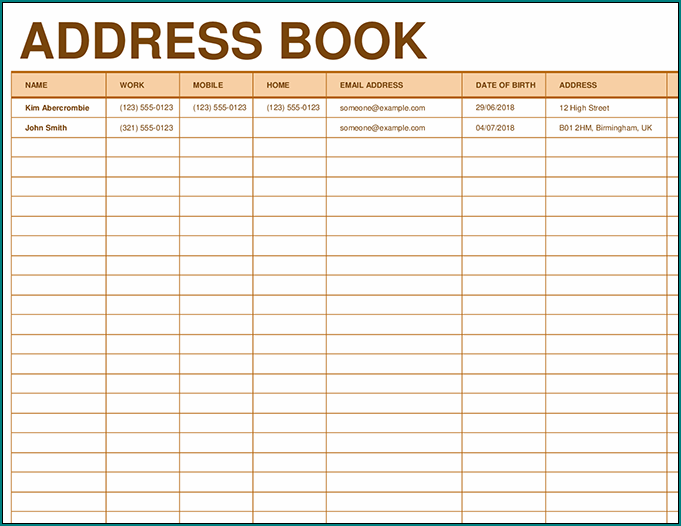 Excel Address Book Template Example