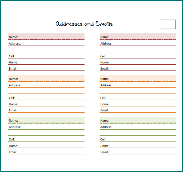 Excel Address Book Template Sample