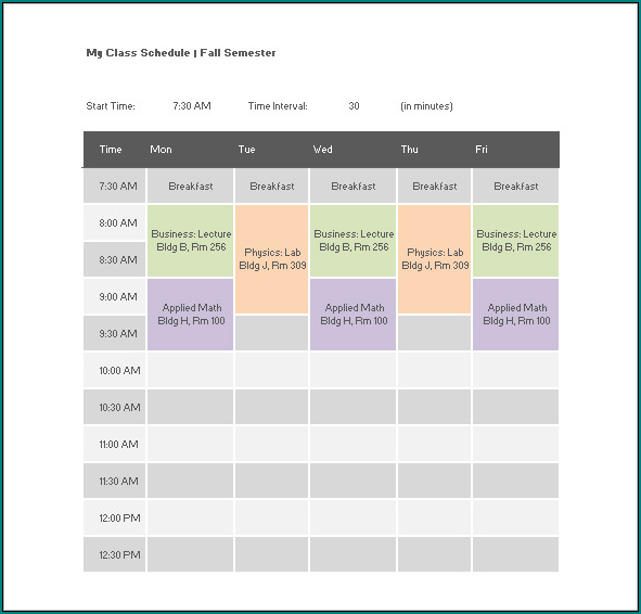 Free Printable Excel Class Schedule Template Bogiolo