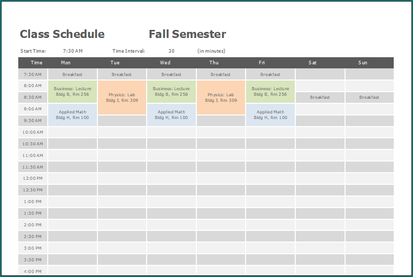 》Free Printable Excel Class Schedule Template | Bogiolo
