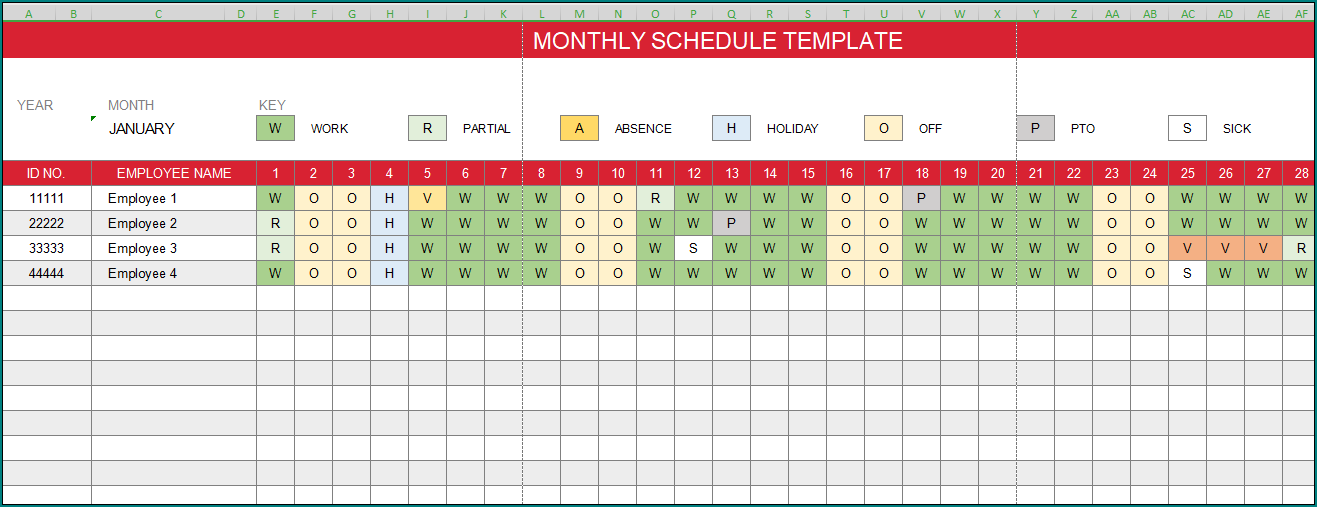 Free Excel Employee Schedule Template from www.bogiolo.com