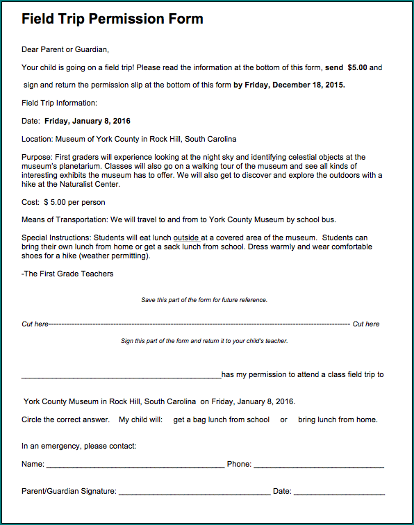 Field Trip Permission Form Example