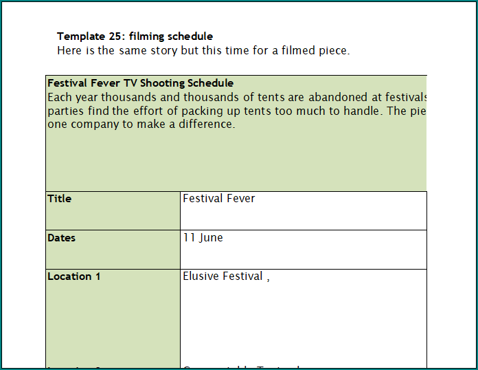Filming Schedule Template
