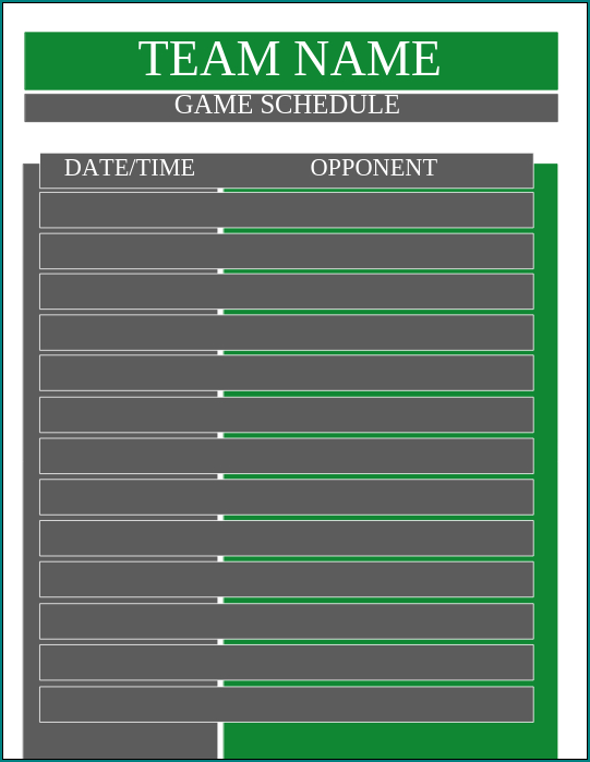 Game Schedule Template Example