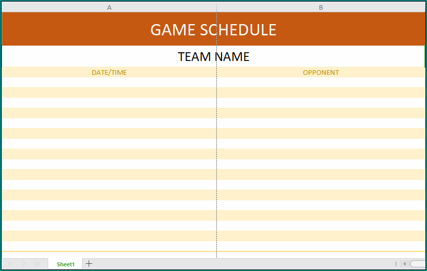 Game Schedule Template