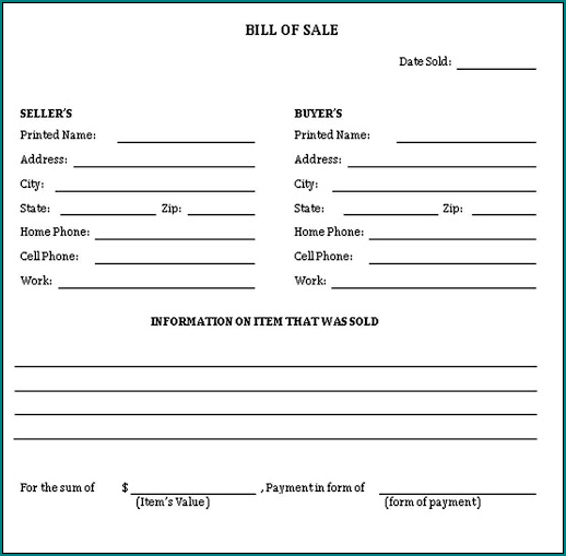 General Bill Of Sale Form Example