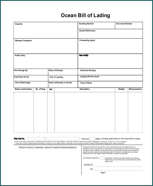 Generic Bill Of Lading Template Sample