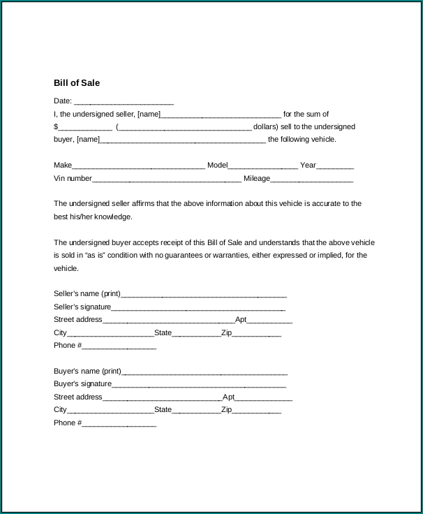 Generic Bill Of Sale Form Example