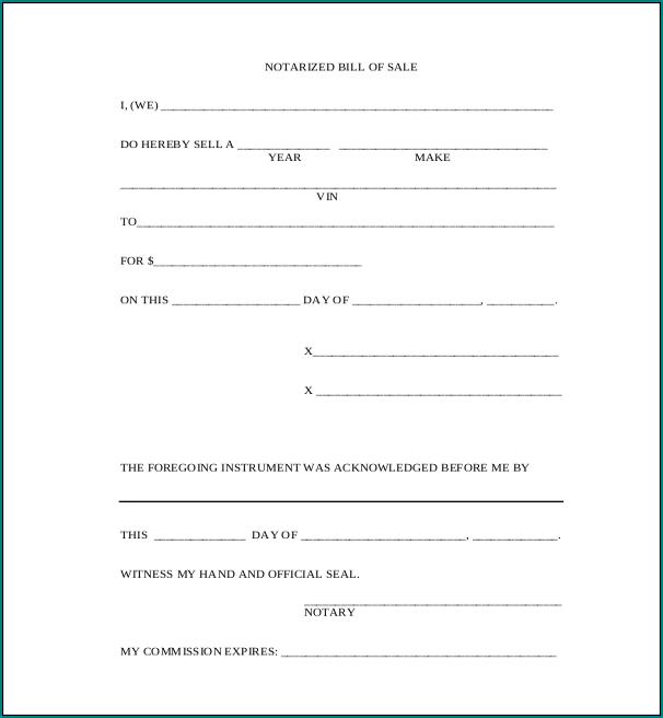 Generic Bill Of Sale Form Sample