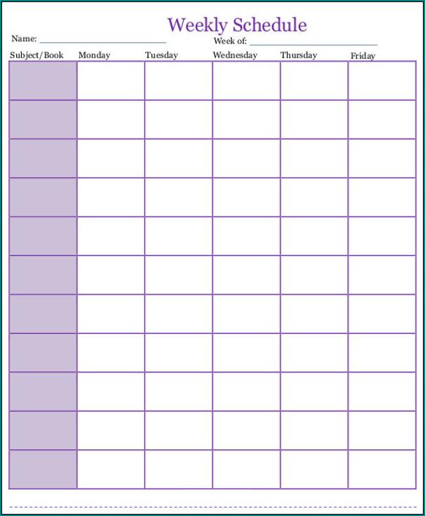 Homeschooling Schedule Template Example