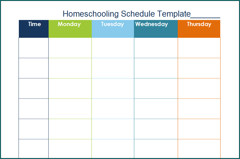 This is a picture of Printable Homeschool Schedule regarding sample home school