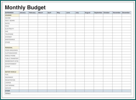 Household Budget Template Example
