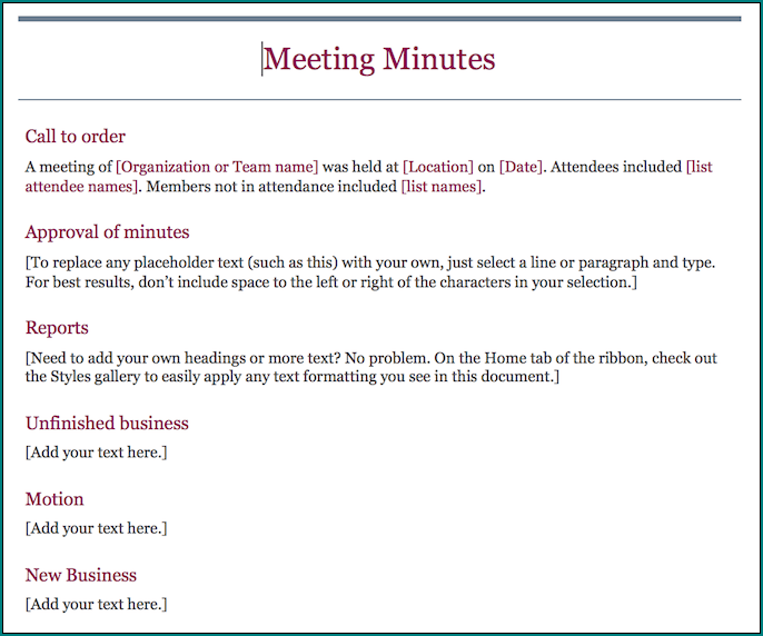 Informal Meeting Minutes Template Example