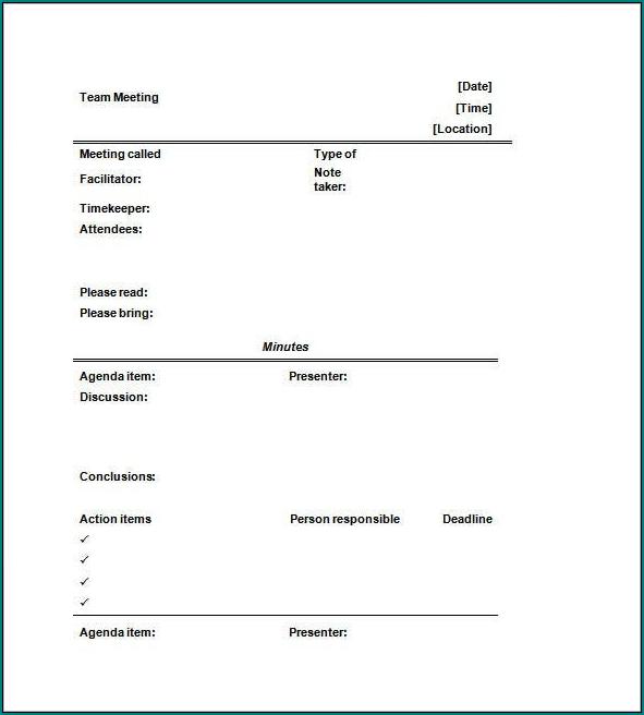 Informal Meeting Minutes Template Sample