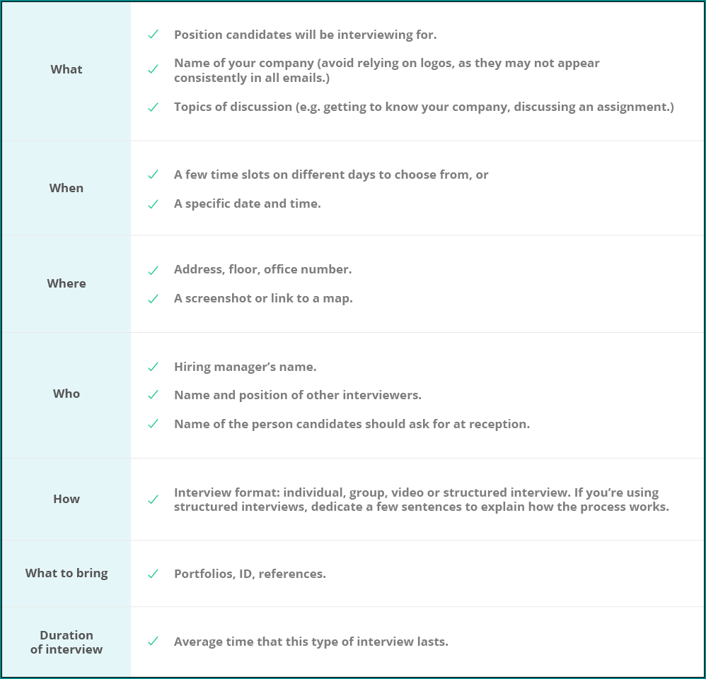 Interview Schedule Template Example
