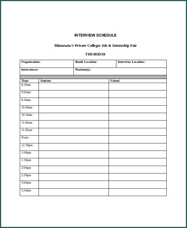 Interview Schedule Template Sample