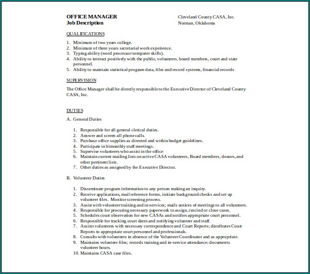 Job Description Template Word Example