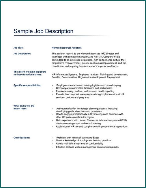 Job Description Template Word Sample