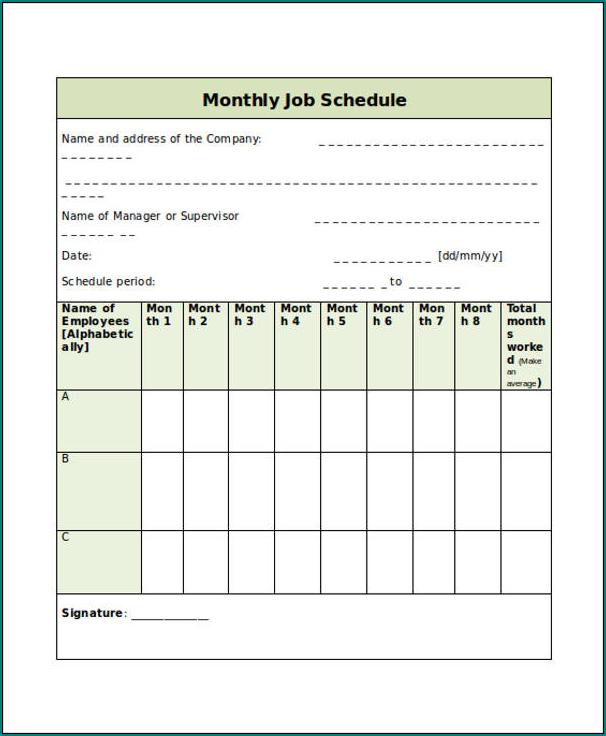 Job Schedule Template Sample
