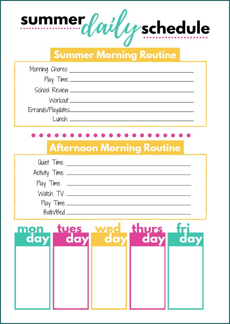Kids Schedule Template Example