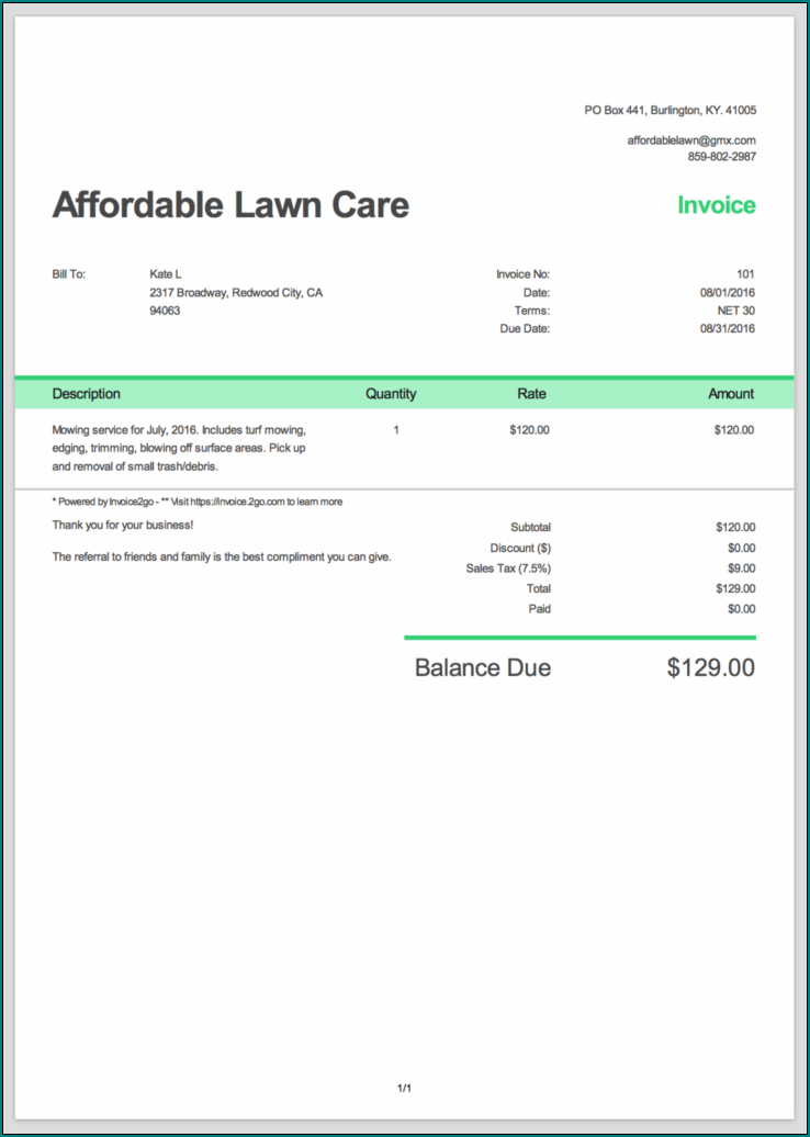 Lawn Care Receipt Template Example