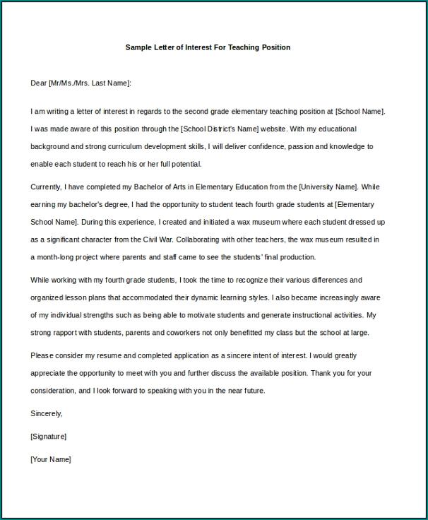 Letter Of Interest Template Sample