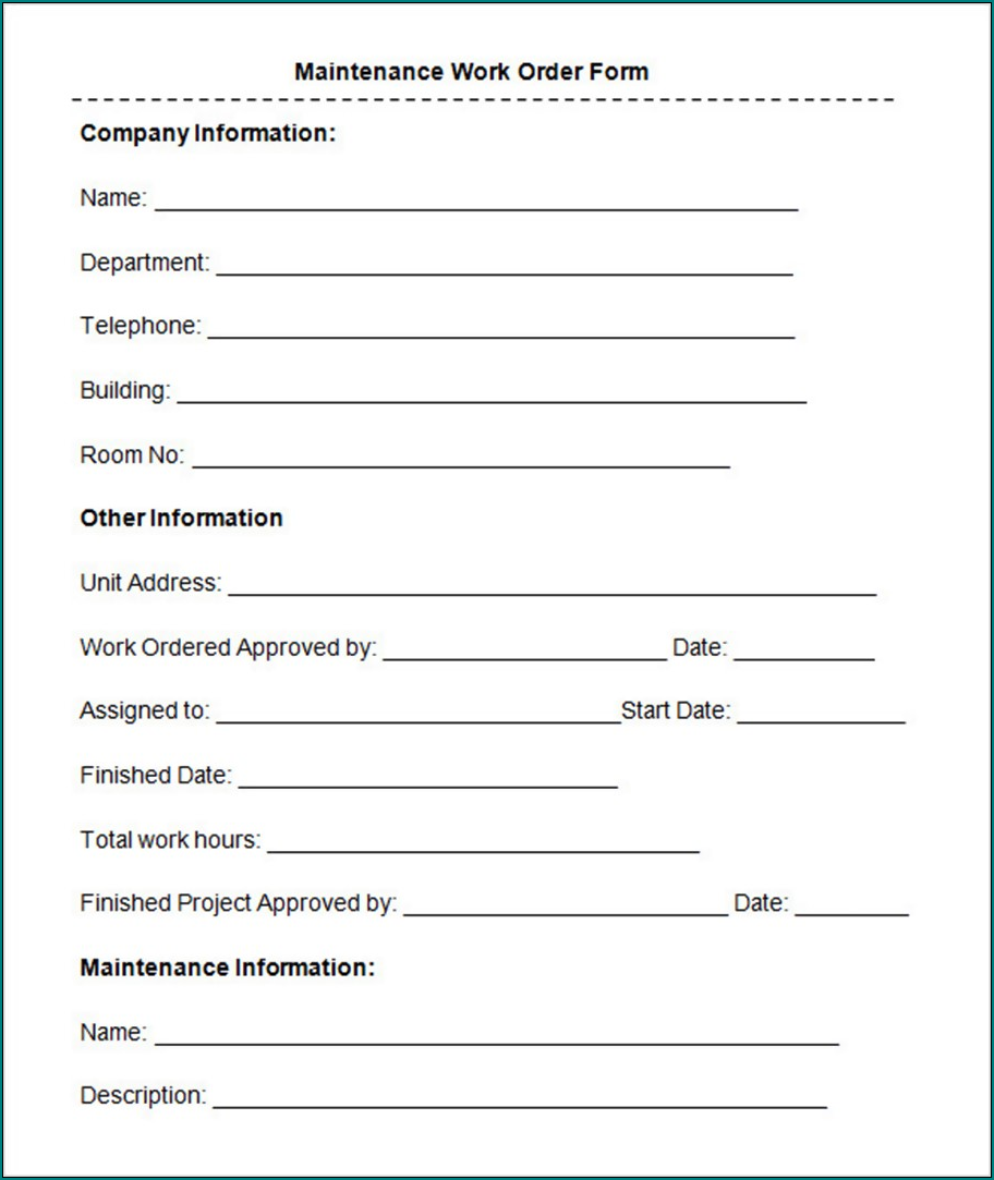 Maintenance Work Order Form Example